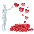 3d Human In Love With 3d Red Heart Royalty Free Stock Photography - 48762247