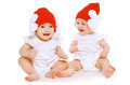 Twins Baby Playing In Hats Royalty Free Stock Photos - 48775128