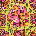 Flowers Line Draw Seamless Pattern Stock Images - 48778984