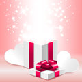 Open Gift Box With Shine, Romantic Valentine S Day Illustration Royalty Free Stock Photos - 48787618