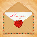 Valentine S Day Postcard, Old Retro Vector Envelope With Wax Seal In Heart Shape, Love Letter Illustration Royalty Free Stock Photos - 48787828