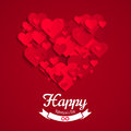 Valentine Illustration, Heart Shape Made Of Red Paper Hearts, Greeting Card Template Stock Image - 48788551