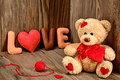Valentines Day. Teddy Bear Love.Hearts, Word Love Stock Images - 48788734