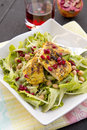 Salad With Grilled Chicken, Chickpeas And Pomegranate Royalty Free Stock Photo - 48802415