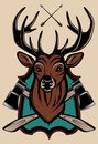 Illustration Of A Stag S Head As A Trophy Stock Image - 48821491