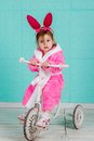 Girl Standing On Small Bike Stock Images - 48822344