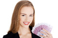 Business Woman Holding Money- Euro Currency. Royalty Free Stock Photography - 48823047