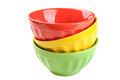Empty, Stacked, Colored Bowls (red, Yellow, Green), Isolated On Stock Photos - 48828953