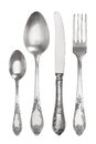 Cutlery Set With Vintage Fork, Knife And Spoons Royalty Free Stock Image - 48831526