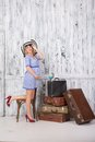 Pregnant Tourist With Suitcases Stock Photography - 48837812