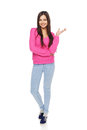 Casual Woman Showing Blank Copy Space Stock Image - 48844821