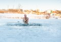Man Swimming Cold Water Stock Image - 48846851