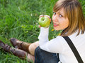 Teenage Girl Eating Apple Stock Image - 48848151