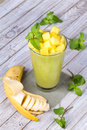 Fresh Mango Fruit Juice In A Glass And Slices Of Mango Stock Photo - 48851570