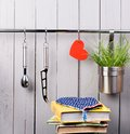 Red Heart And Kitchen Cooking Utensil On Stainless Stock Photos - 48868613