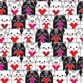Cats With Hearts In Hands Seamless Vector Pattern Stock Photos - 48869573