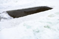 Ice-hole With Frozen Water In Pond And Ice Blocks Royalty Free Stock Image - 48872286