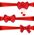 Set Red Gift Bows Ribbons With Rose And Heart, Isolated On White Stock Image - 48874721