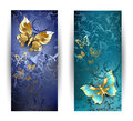 Two Banners With Gold Butterflies Royalty Free Stock Photos - 48879418
