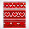 Valentine S Seamless Knitted Banners With Hearts Stock Photo - 48883410