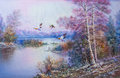 Falls In The Winter With Birds Flying - Oil Painting Stock Image - 48888721