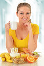 Young Woman Having Breakfast. Balanced Diet Stock Photography - 48893912