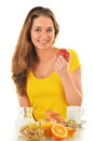 Young Woman Having Breakfast. Balanced Diet Stock Images - 48893954