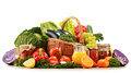 Wicker Basket With Assorted Organic Vegetables And Fruits Stock Image - 48894361