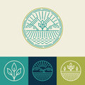 Vector Agriculture And Organic Farm Line Logos Stock Photography - 48908442