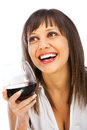 Young Woman Drinking Red Wine Stock Photography - 48910982