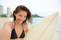 Surfing Surfer Girl Taking Selfie With Surfboard Royalty Free Stock Photo - 48923755