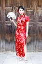 Chinese Woman Red Dress Traditional Cheongsam Royalty Free Stock Photography - 48924887