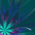 Beautiful Fractal Flower In Green And Blue On Green Background. Stock Photo - 48930130
