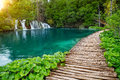 Waterfalls And Pathway In The Plitvice National Park, Croatia Royalty Free Stock Photo - 48930525