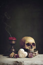 Vanitas With Skull, Book, Candle And Heart Royalty Free Stock Images - 48935749