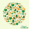 Happy Patrick S Day Concept With Flat Lovely Icons Royalty Free Stock Images - 48936219