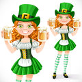 Beautiful Girl Leprechaun Hold A Two Goblets Of Beer Royalty Free Stock Photos - 48936228