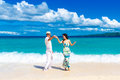 Young Loving Couple Having Fun In The Tropical Beach Royalty Free Stock Photos - 48945108