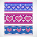 Valentine S Seamless Knitted Banners With Hearts Royalty Free Stock Image - 48991476