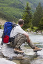 Hiker With Backpack Stock Photos - 4904353