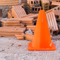 Construction Cone In Construction Site Stock Images - 49003384