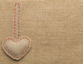 Heart Shape Sackcloth Sewing Object. Mended Burlap Background Royalty Free Stock Photos - 49015938