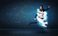 Happy Business Man Jumping With Storm Cloud Around Him Royalty Free Stock Photos - 49022258