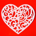 Valentine Carving Heart On The Red Paper Background Royalty Free Stock Image - 49033176