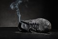 Old Work Shoe In Smoke Stock Photos - 49067073