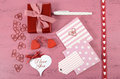 Wrapping Happy Valentines Day Gifts Stock Photography - 49069352