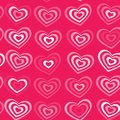 White Striped Heart On Pink Background Valentine S Day, Wedding Seamless Pattern. Vector Royalty Free Stock Image - 49077496