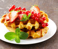 Homemade Belgian Waffles With Berries Stock Photography - 49082182