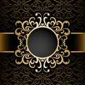 Gold Circle Frame Over Pattern Royalty Free Stock Photos - 49087288