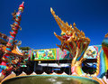 Thai Dragon Or Naga Statue With Five Heads Spray Water Stock Images - 49090954